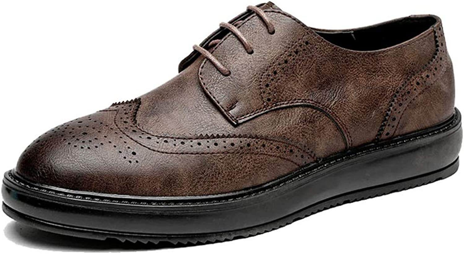 JUJIANFU-shoes Men's Simple Fashion Oxford Casual Classic Carvings Breathe British Style Outsole Brogue shoes(Patent Leather Optional)