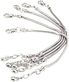 Yeshan 5pcs Silver Plated Snake Chain Charm Bracelet Starter with Classic Bead Lobster Clasp Fits All Chamilia Troll Biagi...