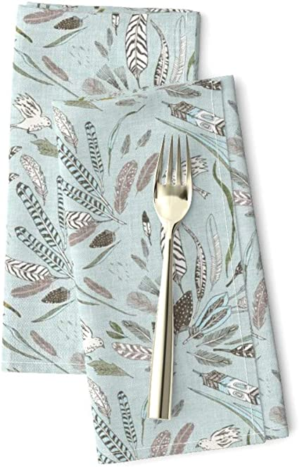 - Joy Flight by nouveau/_bohemian Rainbow Sparrows  Folk Art Cloth Napkins by Spoonflower Set of 2 Colorful Birds Dinner Napkins