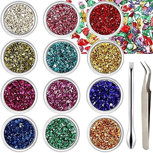 Acmerota 12 colores de vidrio triturado, lentejuelas de vidrio irregulares, chips de vidrio triturado de 2-5 mm, brillos gruesos con pinzas, cuchara para decoración de uñas, molde de resina