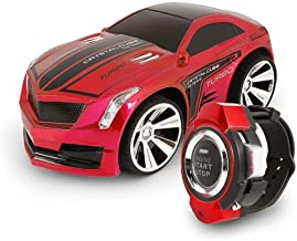 Voice Command Car, Rechargeable Radio Commanded by Smart Watch, Creative Voice-activated RC Car, Dazzling Headlights and Cool Brakes (Red)