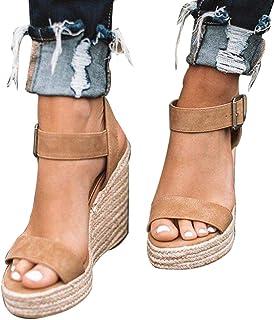 fe2a4a776 Amazon.fr : chaussures femme compensées - Marron