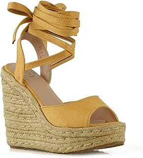 Womens Wedge Sandals Ladies Lace Up Peep Toe Platform High Heel Espadrilles Shoes Size