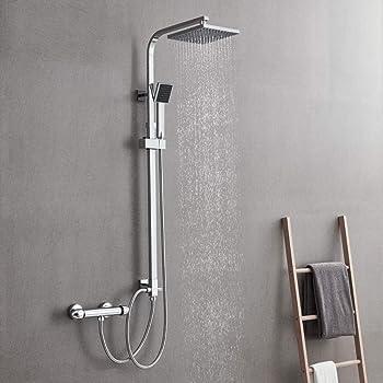 colonne de douche avec pommeau de douche chrom/é//blanc Sch/ÜTTE AQUASTAR Ensemble de douchette /à pommeau de douche avec support mural syst/ème de douche sans robinetterie