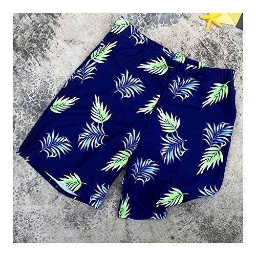 YUNGYE Papa Vater Sohn Badebekleidung Badeanzug Kleidung Sommer Blatt gedruckt Shorts Familie passenden Papa Mich männer Jungen Badehose (Color : Blue, Size : Kids 9T)