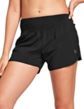 BALEAF Women's 4 Inches High Waisted Athletic Lined Running Shorts Back Zipper Pocket Dri-Fit Workout Gym Sportswear