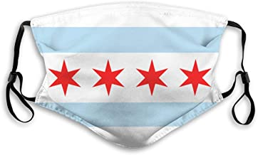 BJNHJS53 Chicago Flag Activated Carbon Filters Unisex Adjustable Washable and Reusable for Outdoors
