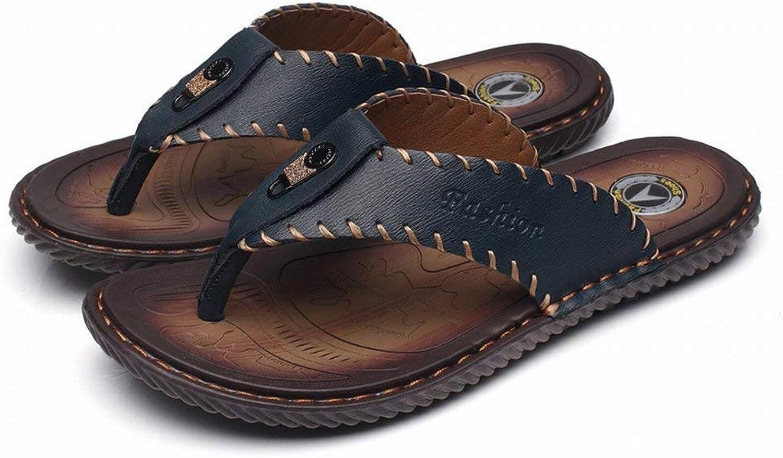 FuweiEncore Herren Leder Flip Flop Toe Toe Toe Rutschfeste Outdoor-Strandschuhe Flache Herren Sandalen (Farbe   Blau, Größe   EU 40) dc4