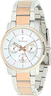 Venice F5016-IPS-IPR-W Two-Tone Stainless Steel Round Analog Watch for Women - Silver and Gold