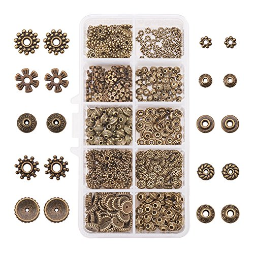PandaHall Elite & reg 500pcs tibetischen Stil Legierung Spacer Perlen, Mischformen, antike Bronze, Loch: 1~3 mm.