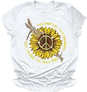 ESKNAS Womens T-Shirts Summer Sunflower Print Short Sleeve Tee Plus Size O-Neck Casual Tunic Tops Blouse