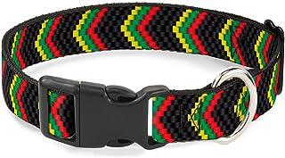 "Buckle-Down Plastic Clip Collar - Chevron Weave Black/Rasta - 1/2"" Wide - Fits 9-15"" Neck - Large 1"" Wide - Fits 15-26"" Ne..."