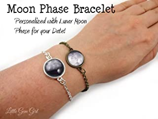 Custom Birth or Anniversary Moon Bracelet in Silver or Bronze - Personalized Birthday Moon Phase Charm Bracelet