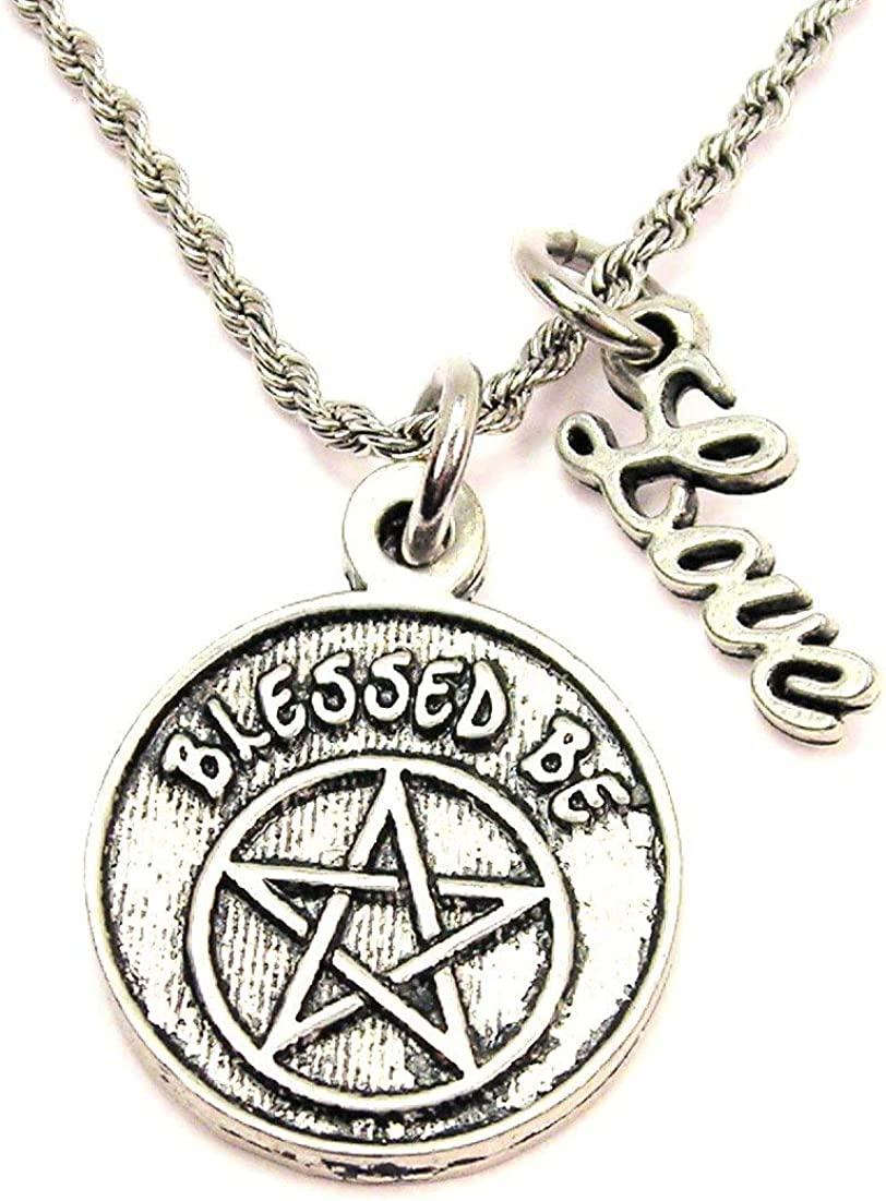 ChubbyChicoCharms Blessed Be Rope Chain Cursive Love Necklace