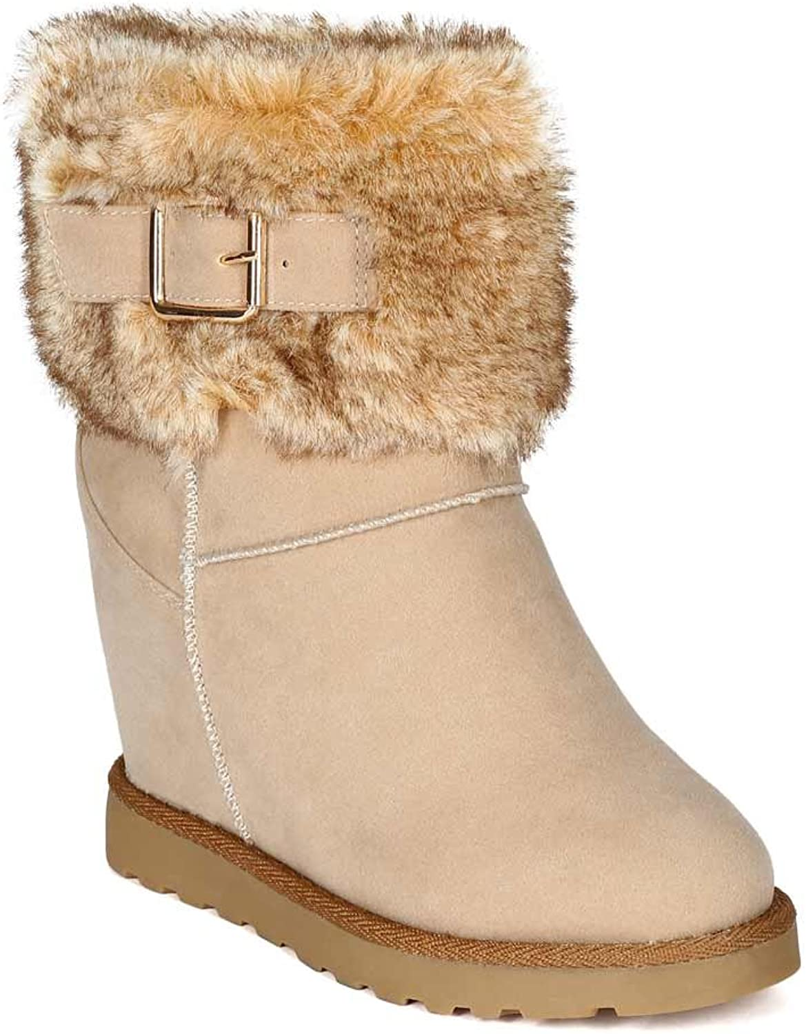 Nature Breeze BG36 Women Suede Fur Cuff Trim Shearling Wedge Bootie - Ice