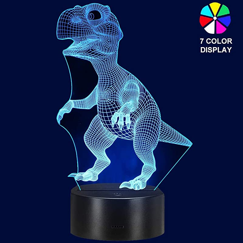 Brlly Night Light 3D Optical Illusion Dinosaur Night Lights For Kids Bedrooms Decor Toys Lamp With 7 Colors Changing For Boys And Girls
