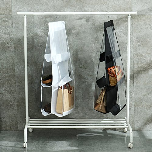 QEES 2 PCS Hanging Purse Handbag Organizer 6 Larger Pockets Clear Cloth Dust-Proof Storage Holder Bag Purse Door Organizer for Handbags, Caps, Accessories for Home Wardrobe Closet YFZ06 (White)