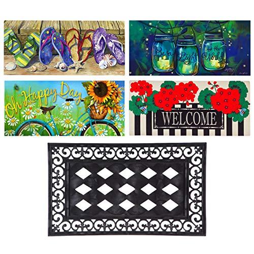 Evergreen Flag Spring & Summer Sassafras Mats and Tray Bundle (Set of 4)
