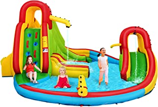 Costzon Inflatable Bounce House, 7 in 1 Mighty Pool Slide, Kids Bouncer w/Climbing Wall, Basketball Rim, Splash Pool, Water Cannon, Including Oxford Carry Bag, Repairing Kit, Stakes (Without Blower)