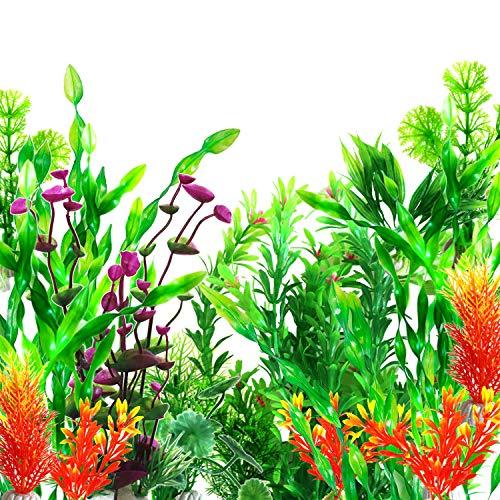 OrgMemory Plastikpflanzen für Aquarien, Fisch Tank Dekoration, (29 Stück, 12-30cm), Aquarium Wasserpflanzen