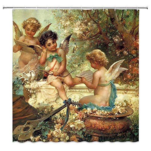 BCNEW Angels in Heaven Shower Curtain Decor Cupid Holding His Bow Bathroom Curtain Polyester Fabric Machine Washable with Hooks 70x70 Inches
