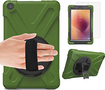 Gzerma Fire HD 8 Kids Proof Case 2017 with Fire HD8 Screen Protector 7th Generation, 3in1 Heavy Duty Protective Cover with Hand Strap, Stand Holdler for New Amazon Kindle Fire 8 Tablet, Green 2