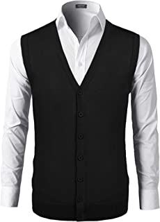COOFANDY Men's Knit Sweater Vest Casual V Neck Button Cardigan Waistcoat