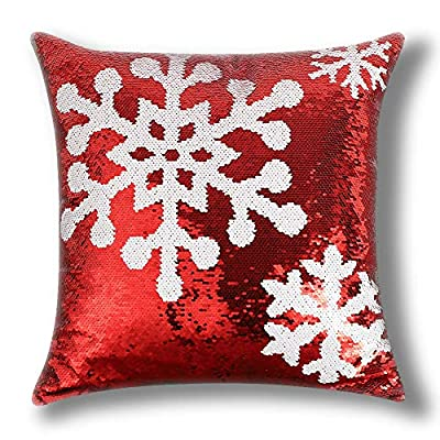 OTOSTAR Christmas Sequin Throw Pillow Cover 18x18 Inch Sparkle Decorative Pillowcases Magic Red Cushion Cover for Party Christmas Couch in-Outdoor Home Decor (Christmas Snow)