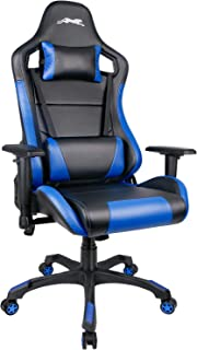 Leopard Outdoor Products Gaming Chair, High Back PU Leather Office Chair, Swivel Racing Chair with Adjustable Armrest - Black/Blue