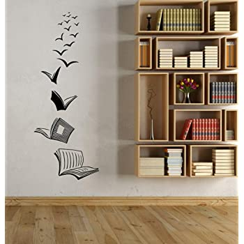 Amazon Com Wall Art Decor Decals Removable Mural Vinyl Wall Decals Classroom Library Open Book Reading Room Home Study Living Room Bedroom Decoration Sticker Home Kitchen