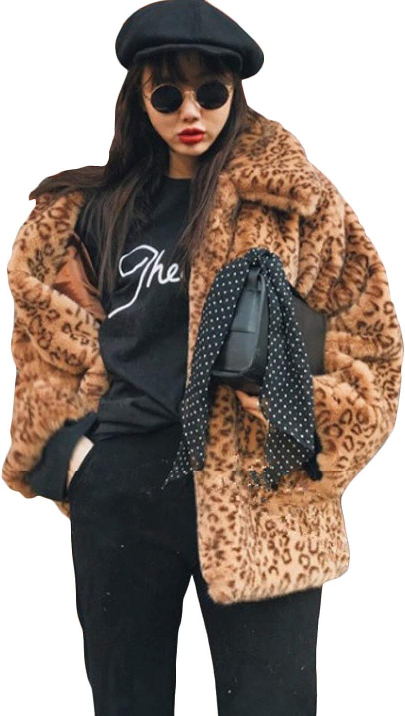 Jenkoon Womens Leopard Print Faux Fur Coat Vintage Warm Long Sleeve Lapel Short Jacket Outwear
