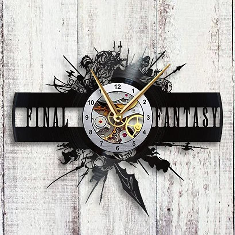 Taniastore Final Fantasy XIV Design Vinyl Record Wall Clock Unique Gifts for him her Gift Ideas for Mothers Day Father Birthday Anniversary Wedding Cute and Funny Original Gifts for Everybody