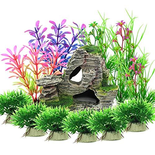 Vibury Plantas Artificiales Acuario, 13 Piezas Plantas Verdes de Acuario de plástico y Acuario, Arrecife de montaña, Cueva de Roca,...