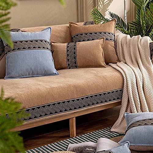 ADIS Funda de sofá para sofá, para niños, mascotas, estilo nórdico, felpilla, resistente al agua, antideslizante, 70 x 150 cm, color marrón