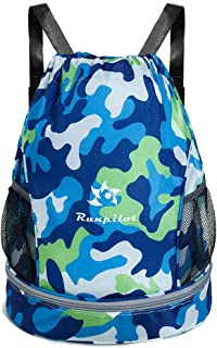Drawstring Backpack Bag With Shoe and Wet Compartment,Waterproof Sports Gym Swim Bag