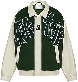 DELIMALI Women's Oversized Zip Up Color Block Bomber Jacket Butterfly Heart Skeleton Letter Print Baseball Outwear