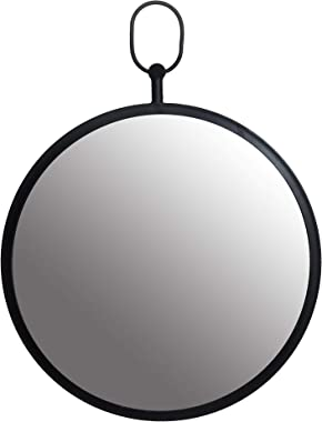 Black Round Wall Mirror with Decorative Handle