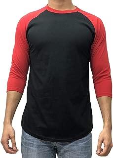 KANGORA Men's Plain Raglan Baseball Tee T-Shirt Unisex 3/4 Sleeve Casual Athletic Performance Jersey Shirt (24+ Colors)