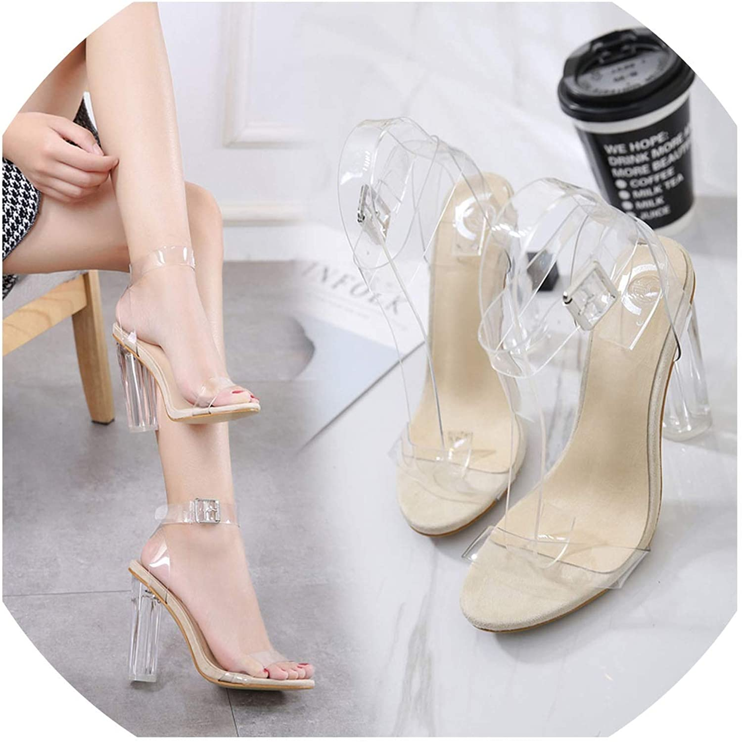 Plus Size Women's Sandals Ankle Strap Adjustable Buckle Clear Block Chunky High Heel Sandal Open Toe Fashion Dress shoes