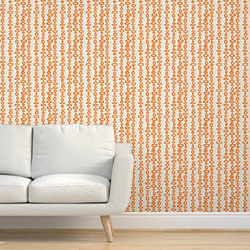 Spoonflower Pre-Pasted Removable Wallpaper, Modern Mid Century Midcentury Modernism Bohemian Jungelow Orange Print, Water-Activated Wallpaper, 12in x 24in Test Swatch
