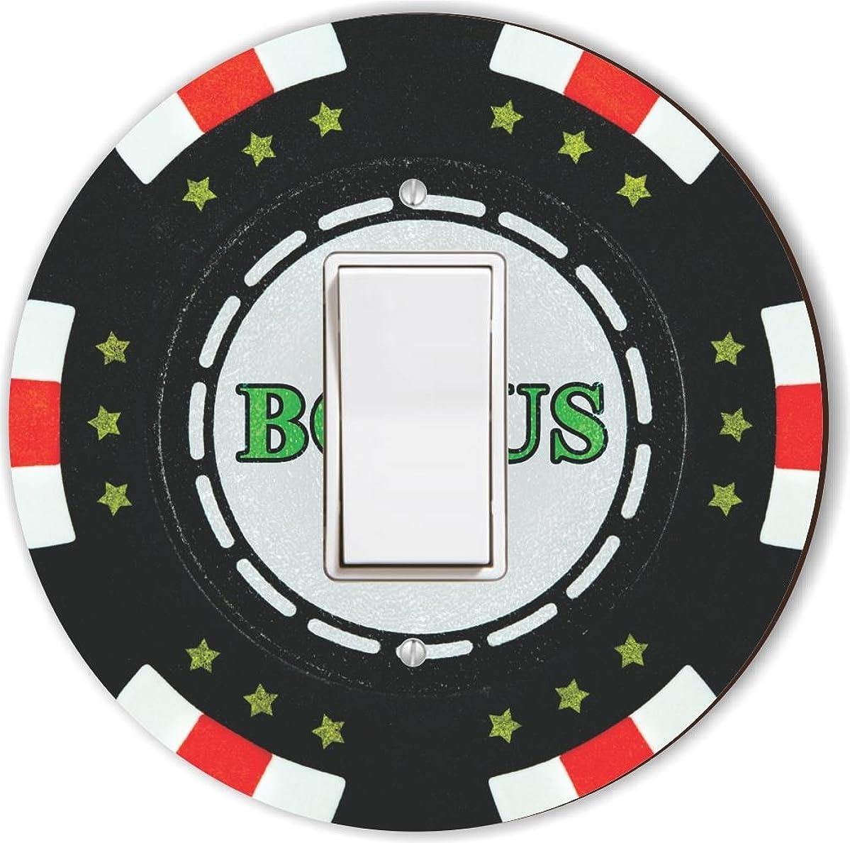 Rikki Knight RND-LSPROCK-102 Bonus Poker Chip Round Single Rocker Light Switch Plate