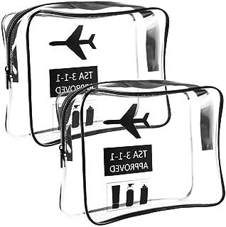 Neceser Transparente, Bolsa Impermeable de Aseo Claro PVC de Cosméticos,Transporte de Líquidos en Avión para Mujer y Hombre (2PC)