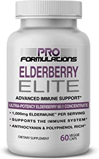 Pro Formulations — Elderberry Elite — Strongest Available Elderberry Extract 65:1 — Advanced Immune Support Capsules - 60 ...