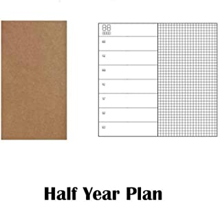1Pc Refillable Paper Traveler'S Notebook Papers Journal Dairy Inserts Refill Leather Notebook Blank Line Kraft,Half Year Plan,For Standard 12X21Cm