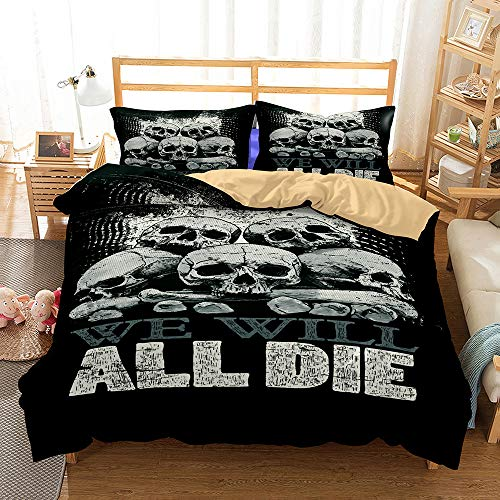 Duvet Cover Set 3 Pieces Bedding Set 3D Skeleton Skull Printed Teenager Children Kids Bedding Quilt Cover with Zipper Closure for Bedding Decro, Microfiber Quilt Cover with Pillow Cases (220x230 cm)