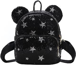 Shiny Sequin Satchel Cute Mouse Ear Backpack Travel Daypack Casual Shoulder Bag for Kid Girl Women