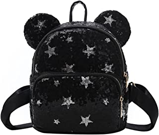 Shiny Sequin Satchel Cute Mouse Ear Backpack Travel Daypack Casual Shoulder Bag for Kid Girl Women