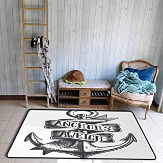 Anchor Modern Area Rug Tattoo Style Navy Symbol Sketch with Ribbon and Vintage Lettering Insignia Anti-Static W23 x L35 Charcoal Grey White