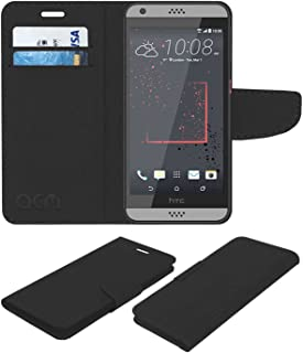 Acm Mobile Leather Flip Flap Wallet Case Compatible with HTC Desire 630 Dual Sim Mobile Cover Black