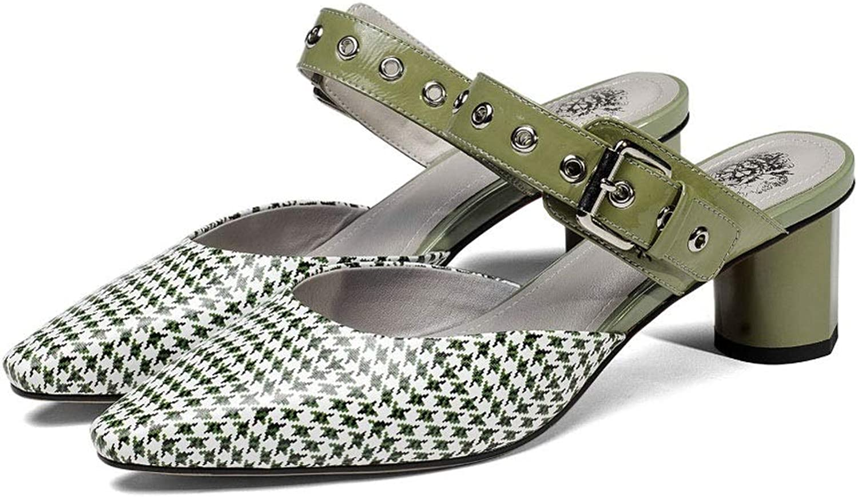 Damen Frauen Spitzen dicken Ferse Sandalen Mode Metall Baotou Sandalen